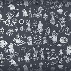 Black #Moomin Wallpaper from #Finnish designer Sandudd's limited edition collection