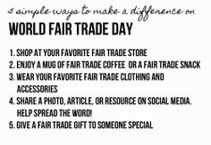 5 Must Do's for #WorldFairTradeDay! #FTCampaigns #WFTD