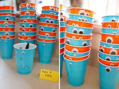 Little monster party decoration @Addie Knight Heusman, future birthday party cup idea. Kids draw on their own faces.