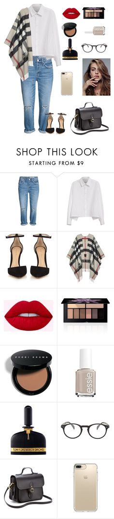 """""""Untitled #136"""" by abby-shlensky ❤ liked on Polyvore featuring Y's by Yohji Yamamoto, Gianvito Rossi, Burberry, Smashbox, Bobbi Brown Cosmetics, Essie, Tom Ford, See Concept, The Cambridge Satchel Company and Speck"""