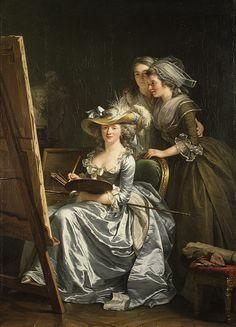 Self-Portrait with Two Pupils, Mademoiselle Marie Gabrielle Capet (1761–1818) and Mademoiselle Carreaux de Rosemond (died 1788), 1785 Adélaïde Labille-Guiard (French, 1749–1803) Oil on canvas