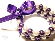 Purple White Bracelet  Memory Wire Wrap Coil Bow by ElwynJewelry, $18.00