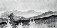 """Philip Koch, """"From Sugar Hill"""", vine charcoal, 7 x 14"""", 2014 A drawing made on location in Sugar Hill, NH looking toward the high peaks near Mt.Washington."""