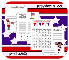 Freebie Packet  pinned for www.CFClassroom.com post about President's Day