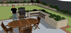 Kiwi BBQ, patio furniture on floated concrete, raised herb garden. 3d Landscape, Landscape Designs, Raised Herb Garden, Backyard, Patio, Outdoor Furniture Sets, Outdoor Decor, Kiwi, Sun Lounger