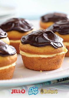 Boston Cream Pie Minis – There's nothing mini about the taste of these Boston Cream Pie Minis. They are bite-sized perfection. All you need is JELL-O, COOL WHIP, and BAKER'S chocolate and this dessert recipe is as easy as pie.