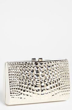 Trouve Croc Embossed Metal Clutch Silver