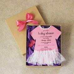 baby shower girl invitations, it's a girl, pearls, tutu, dress, pink invitation