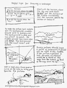 Helpful Tips for Drawing Landscape Worksheet.