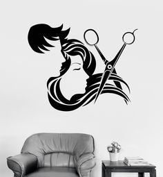 Vinyl Wall Decal Hair Salon Stylist Hairdresser Barber Shop Stickers (ig4133)