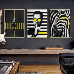 Funky Gallery Wall Trio of Black, white & yellow pop art prints Eclectic Gallery Wall, Gallery Wall Frames, Art Gallery, Gallery Walls, Free Art Prints, Wall Art Prints, Photo Deco, Bohemian Wall Art, Pop Art Design