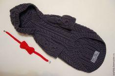 Одежда для собак, ручной работы. Свитер с капюшоном Графит с красным  для собак. OLGA вязание hand made. Интернет-магазин Ярмарка Мастеров.