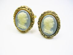 Vintage Cufflinks Incolay Stone Faux Cameo Roman by unclesteampunk