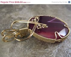 30 OFF SALE Wire Wrapped Pendant Red Purple by ParkerPendants, $68.60