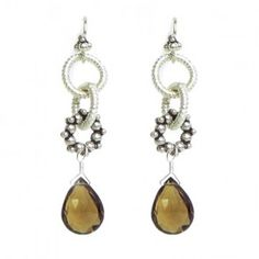 Laura Gibson - Sterling Silver and Whisky Quartz Earrings