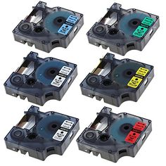 Markurlife Label Tapes for Dymo D1 45013 45010 45016 45017 45018, 45019, 12mm x 7m, 6-Pack