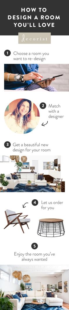 Designing a new room is easy and affordable with @decorist. In 5 simple steps turn your pins into reality. Choose your room, meet your designer, get your design, order your products and enjoy your new space. https://www.decorist.com/