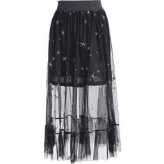 Sheer Star Embroidered A Line Skirt ($23) ❤ liked on Polyvore featuring skirts, sheer skirt, blue a line skirt, transparent skirt, see-through skirts and embroidered skirt
