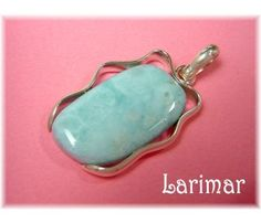 LARIMAR ~ Caribbean Blue Larimar Sterling Silver Ribbon Handcrafted Pendant ~ $139  www.FindMeTreasure.com
