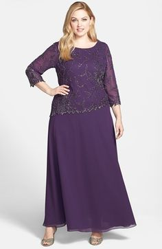 J Kara Beaded Mock Two-Piece Gown (Plus) available at #Nordstrom