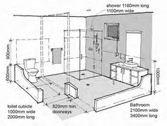 handicap accessible shower dimensions, good idea to look at if you are doing a b… - JudeBuxom. Ada Bathroom, Handicap Bathroom, Bathroom Floor Plans, Bathroom Flooring, Small Bathroom, Aide Handicap, Disabled Bathroom, Handicap Accessible Home, Bathroom Dimensions