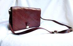 aubergine 70's shoulder bag vintage leather by bobosemporium, £14.00