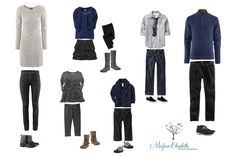 Wondering what to wear for your family photos? Here are some ideas to inspire to you. All clothing is from Old Navy and H&M. Blues and greys work great for fall and Christmas family photos.