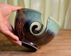 Yarn bowl ceramic, knitting crochet porcelain, glazed in gray green, handmade by hughes pottery