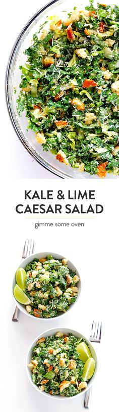 Frugal Food Items - How To Prepare Dinner And Luxuriate In Delightful Meals Without Having Shelling Out A Fortune Kale Caesar Salad - Made With A Lighter And Delicious Lime Caesar Dressing Vegetarian Recipes, Cooking Recipes, Healthy Recipes, Vegan Meals, Easy Cooking, Side Salad Recipes, Kale Recipes, Oven Recipes, Pasta Recipes