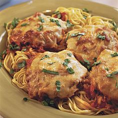Pounded Pork Parmesan With Linguine | MyRecipes.com