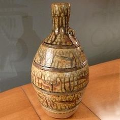 John Jelfs Bottle Vase-John Jelfs bottle vase. Made from local Cotswold clay with a wood ash glaze.