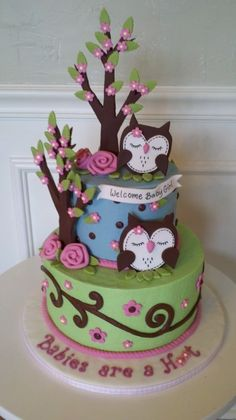 Baby Shower Cake for lil girl…  I love this since Addison had an owl theme baby shower and nursery :)