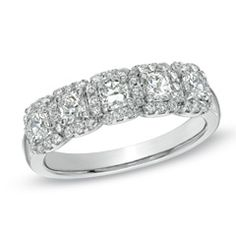 1 CT. T.W. Cushion-Cut Diamond Five Stone Frame Band in Platinum (G-H/VS2-SI1) - View All Jewelry - Gordon's .  don't forget the s in gordons gordonsjewelers.com