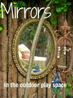 let the children play: Mirror, mirror on the Wall- mirrors for outdoor play- in the garden? Preschool Playground, Preschool Garden, Sensory Garden, Sensory Play, Children Playground, Outdoor Learning Spaces, Outdoor Play Areas, Outdoor Fun, Outdoor Spaces