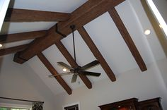 Den/Office ceiling detail Ceiling Detail, Ceiling Fan, Exposed Trusses, Office Ceiling, Faux Wood Beams, Camden, Logs, Powder Room, Great Rooms