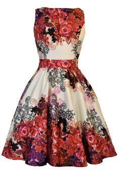 Red Rose Floral Cream Tea Dress : Lady Vintage looks good ay Vintage Tea Dress, Floral Tea Dress, Vintage Dresses, Vintage Clothing, Vintage Outfits, Floral Dresses, Tunic Dresses, 1950s Fashion, Vintage Fashion