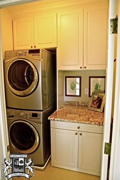 Keeping your laundry room neat and organized is easy when you have plenty of cabinet space. We can design, manufacture and install custom cabinets for any room in your house! #laundryroom #customcabinets #diplomatclosetdesign