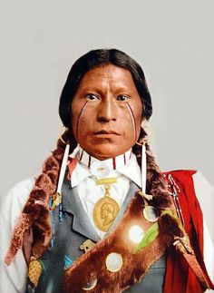 An old photograph of Chief James A Garfield - Apache [Colorized].