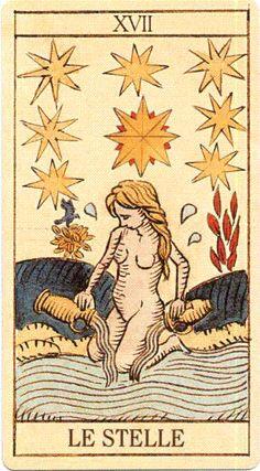 Sopra la testa della donna che rappresenta l'umanità,brilla una stella gialla a otto raggi.In varie edizioni di tarocchi,l'insieme di sette stelle raggruppate attorno a una più grande richiama la costellazione delle Pleiadi.La Stella è il mondo in formazione,il centro originale di un universo.Strettamente legata al cielo da cui essa dipende,la Stella evoca anche i misteri del sogno e della notte;per brillare di luce personale l'uomo deve inserirsi nei grandi ritmi cosmici ed armonizzarsi ad…