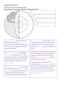 Earth`s Structure Worksheet - MHS-Integrated