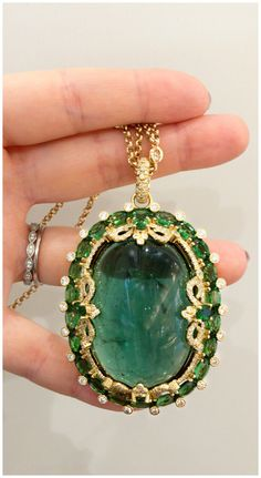 An incredible tourmaline cabochon pendant necklace by Erica Courtney. You can even upload your own photo on any of our jewelry! Gemstone Necklace, Pendant Necklace, Gemstone Bracelets, Bollywood Jewelry, Jewelry Branding, Luxury Jewelry, Beautiful Necklaces, Vintage Jewelry, Gothic Jewelry