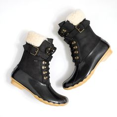 J.Crew Gift Guide: women's Sperry® for J.Crew Shearwater buckle boots in black.