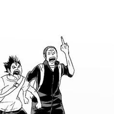 tanaka and nishinoya friendship goals Hinata, Nishinoya Yuu, Kuroo, Tanaka Haikyuu, Haikyuu Karasuno, Kagehina, Haikyuu Wallpaper, Cute Anime Wallpaper, Haikyuu Funny