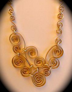 Collares, Colgantes, de aluminio Alambre plano collar de oro ...