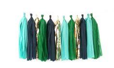 Aqua kelly green Navy and gold tassel garland by GLAMLovePARTIES