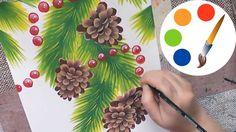 Christmas art, Paint a Christmas tree with cones, double stroke, irishkalia