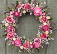 SWEET PETITTE Country dried flower wreath by podsandpetals on Etsy, $15.99