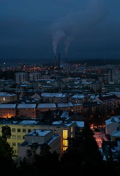 Tampere, Finland by night. There is my school in picture:) Finland Country, Scandinavian Countries, Night Aesthetic, Helsinki, Norway, Countryside, Places To Go, Beautiful Places, Around The Worlds