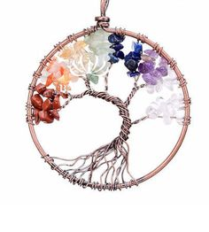 Tree Of Life Pendant Necklace Crystal Natural Stones
