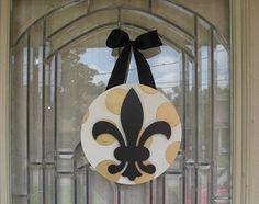 New Orleans Saints black and gold polka dot, fleur de lis door decoration, custom painted, Cajun, Southern, Hostess Gift, Party